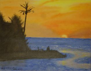 Vacation's Last Sunset 11 x 14. From a photo by Laura Jaarsma